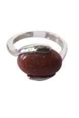 Vee Accessories Cincin Wanita Batu Akik Pasir Emas Persegi Panjang Oval - RCPE02