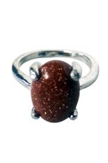 Vee Accessories Cincin Wanita Batu Akik Pasir Emas Persegi Panjang Oval - RCPE05