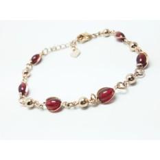 VeE Gelang Wanita Lapis Emas 18K Batu Rubi Siam Merah.