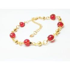VeE Gelang Wanita Lapis Emas 18K Batu Rubi Siam Merah Darah Bulat