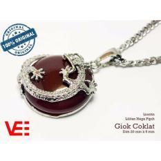 Toko Vee Liontin Terapi Kesehatan Model Pipih Lilitan Naga Batu Giok Coklat Terlengkap