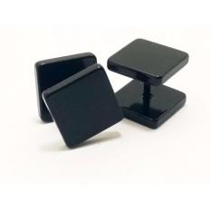 VeE Sepasang Anting Tindik Barbel Kotak - Titanium Hitam