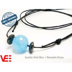 VeE Tali Kalung Liontin Terapi Kesehatan Giok Biru + Hematite Stone
