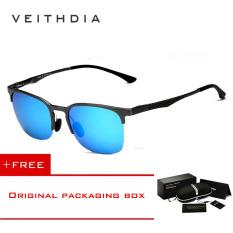 Promo Veithdia Adapula Retro Magnesium Aluminium Merek Kacamata Hitam Vintage Eyewear Lensa Terpolarisasi Aksesoris Pria Wanita Kacamata Matahari 6631 Abu Abu Biru Membeli 1 Mendapatkan 1 Hadiah Di Tiongkok