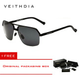 Situs Review Veithdia Aluminium Magnesium Polarized Sunglasses Square Vintage Pria Kacamata Matahari Mengemudi Eyewear Aksesoris Pria 6521 Hitam Beli 1 Gratis 1 Freebie