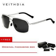 Obral Veithdia Aluminium Magnesium Polarized Sunglasses Square Vintage Pria Kacamata Matahari Mengemudi Eyewear Aksesoris Pria 6521 Silver Frame Beli 1 Gratis 1 Freebie Murah