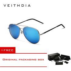 VEITHDIA Aluminium Magnesium Sunglasses Polarized Lensa Biru Berputar 180 Derajat Kaki Eyewear Aksesoris Sun Glasses Pria/Wanita 3618 (grey Blue) [Beli 1 Gratis 1 Freebie]