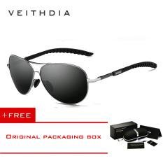 Jual Veithdia Kacamata Aviator Pilot Polarized Sunglasses 3088 Abu Abu Murah