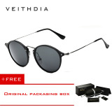 Jual Beli Veithdia Brand Fashion Unisex Sun Glasses Polarized Coating Mirror Driving Sunglasses Round Male Eyewear For Men Women 6358 Black Grey Buy 1 Get 1 Freebie Intl Baru Tiongkok
