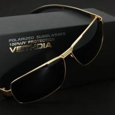VEITHDIA Pria Kacamata Hitam Kacamata Lensa Terpolarisasi Pengemudi Mengemudi Penangkapan Ikan Kaca Mata Eyewear Aksesoris untuk Pria 2490 (emas /Kelabu)