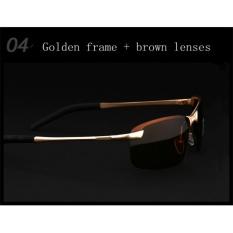 VEITHDIA Merek Kacamata Hitam Pria Terpolarisasi Rimless Sport Sun Kacamata Mengemudi Goggle Kacamata untuk Pria 3043-Intl