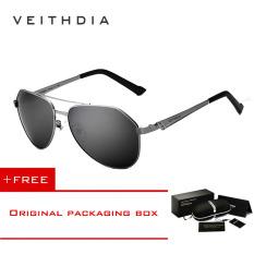 Toko Veithdia Merek Stainless Steel Pria Sunglasses Polarized Mirror Lens Aksesoris Eyewear Mengemudi Sun Kacamata Untuk Pria 3559 Grey Beli 1 Gratis 1 Freebie Veithdia