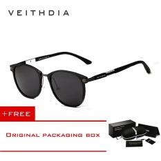 Beli Veithdia Merek Unisex Retro Aluminium Magnesium Kacamata Terpolarisasi Lensa Vintage Outdoor Eyewear Aksesoris Sun Glasses 6680 Hitam Abu Abu Cicil