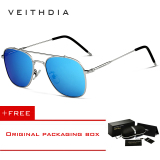 Promo Veithdia Fashion Unisex Kacamata Terpolarisasi Lapisan Cermin Matahari Kacamata Hitam Wanita Oculos Eyewear For Pria Wanita 3820 Perak Biru Muda