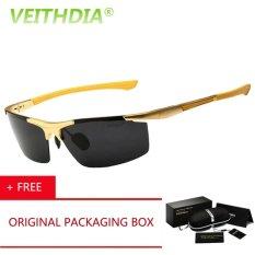 VEITHDIA HD Orang Desainer Merek Olahraga Kacamata Kacamata Terpolarisasi Mengemudi Magnesium Aluminium Oculos De Sol 2016 Aksesoris 6588 (Gold) Kacamata Hitam [membeli 1 Mendapatkan 1 Hadiah]