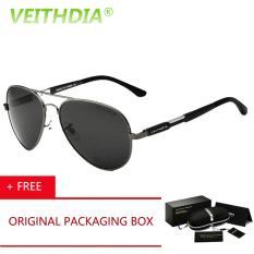 VEITHDIA HD Kuat Dampak Men Merek Logo Berkendara Polarized Sunglasses Kacamata Aluminium Paduan Magnesium Oculos De Sol Pria Kacamata Hitam 6695 (abu-abu) [Beli 1 Gratis 1 Freebie]