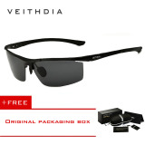 Review Veithdia Aluminium Magnesium Sunglasses Polarized Sports Mens Lapisan Pria Eyewear Aksesoris 6588 Biack Beli 1 Gratis 1 Freebie Tiongkok