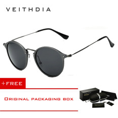 VEITHDIA Merek Fashion Unisex Kacamata Terpolarisasi Lapisan Cermin Matahari Bulat Mengemudi Kacamata Hitam Pria For Pria/Wanita 6358