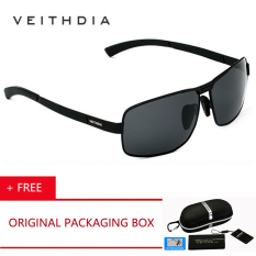 VEITHDIA Baru UV400 Pilot Pria Kacamata Terpolarisasi Merek LOGO Desain Berkendara Sun Glasses 2017 Eyewear Aksesoris 2490 (Black Grey) -Intl