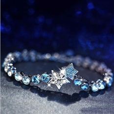 Beli Venflon Gaun Ladies Crystal Rhinestone Biru Ocean Star Sliver Plated Chain Bracelet Bangle Bertahap Warna Intl Nyicil