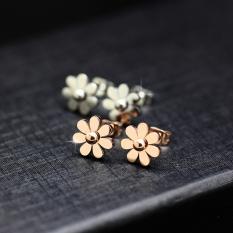 Anting Korea Fashion Style Titanium Baja Berlapis Emas Mawar