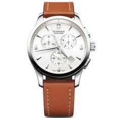 VICTORINOX SWISS ARMY 241480 Alliance - Jam Tangan Pria - Chronograph - Leather - Brown - Silver