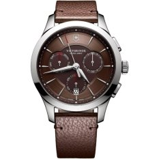 VICTORINOX SWISS ARMY 241749 Alliance Chronograph - Jam Tangan Pria - Chronograph - Leather - Brown - Silver