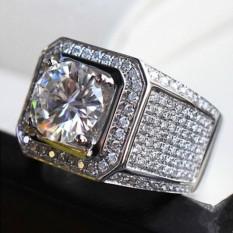 Kemenangan Baru Pria Eropa dan Amerika Modis Pola Baru Domineering Cincin Berlian Penuh Berlian Lingkaran Perak-Internasional