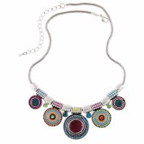 Spesifikasi Vienna Linz Kalung Fashion Alura Circle Korea Vintage Rhinestone Necklace Pendant Casual Jewelry Accessories Multicolor Bagus