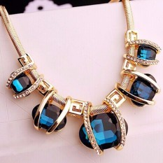 Vienna Linz Kalung Fashion Coralina Pendant Korea Vintage Rhinestone Necklace Feminim Jewelry Accessories - Gold Blue