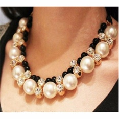 Vienna Linz Kalung Fashion Monalisa Pearl Mutiara Korea Chocker Vintage Rhinestone Necklace Pendant Pesta Jewelry Accessories - Black
