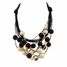Diskon Besarvienna Linz Kalung Fashion Yola Pearl Chocker Korea Retro Rhinestone Necklace Pendant Pesta Jewelry Accessories Black