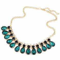 Vienna Linz Kalung Green Crystalline Korea Vintage Rhinestone Gold Necklace Fashion Pesta Chocker Jewelry Accessories - Green
