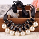 Beli Vienna Linz Kalung Pesta Chantilly Korea Vintage Mutiara Pearl Necklace Fashion Jewelry Accessories White Kredit