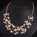 Spesifikasi Vienna Linz Kalung Pesta Mutiara Daun Crystal Pearl Necklace Ethnic Jewelry Gold Putih Terbaru