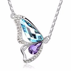 Vienna Linz Kalung Wanita Butterfly Wing Diamond Crytal Necklace Fashion Unik Feminim Design - Biru