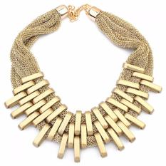 Vienna Linz Kalung Wanita Pesta Europe American Jewelry Etnik Fashion Necklace Glamour Mewah Women Fashion Accessories Short for Party Kerja Hijab Aksesoris Perhiasan Neckle Charming Menawan - Gold