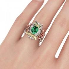 Vintage Hewan Owl 2.5CT Emerald Putih Topaz Wanita 925 Perak Ring-Intl