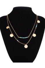 Vintage Charm Kalung Perhiasan Rantai Kalung Bib Dengan Payet Dan Hijau Kalung Batu Liontin