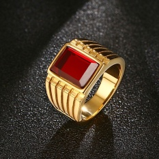 Vintage Big Red Stone Ring for Men Cool Gold-Color 316l Stainless Steel Jewelry, US Size 7-12