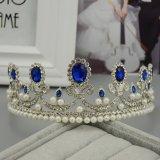 Beli Vintage Biru Berlian Imitasi Pengantin Tiara Bando Baroque Mahkota Ratu Putri Bulang Pearl Rambut Perhiasan Aksesoris Pernikahan Intl