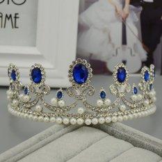 Cuci Gudang Vintage Biru Berlian Imitasi Pengantin Tiara Bando Baroque Mahkota Ratu Putri Bulang Pearl Rambut Perhiasan Aksesoris Pernikahan Intl