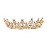 Beli Kristal Antik Emas Crown Hiasan Kepala Tiara Pernikahan Aksesoris Rambut Pengantin Yang Bagus