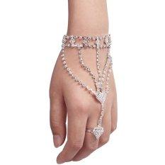 Vintage Kilau Berlian Imitasi Rangkaian Gelang Tangan Rantai Cincin Jari Budak