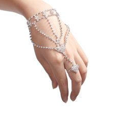Kilau Berlian Imitasi Model Rangkaian Rantai Gelang Tangan Budak Link Cincin Jari