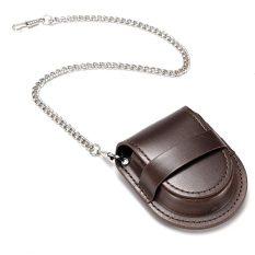 Spek Vintage Leather Chain Pocket Watch Holder Storage Case Box Coin Purse Pouch Bag Brown