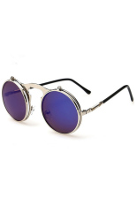 Toko Pria Wanita Vintage Kacamata Bulat Steampunk Logam Flip Up Kacamata Hitam Kacamata Lensa Silver Biru Silver Terdekat