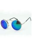 Beli Vintage Pria Wanita Steampunk Kacamata Round Metal Flip Up Sunglasses Eyewear Lensa Silver Hijau Silver Lengkap