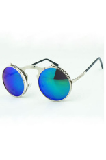Diskon Besarvintage Pria Wanita Steampunk Kacamata Round Metal Flip Up Sunglasses Eyewear Lensa Silver Hijau Silver