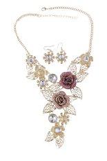 Harga Termurah Kalung Vintage Yang Ditindik Anting Anting Ditetapkan With Mawar Bunga Kerah Daun Pernyataan Desain Perhiasan